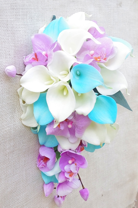 Natural Touch White and Turquoise Callas with Lilac Lavender Purple ...