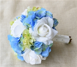 Natural Touch Off-White & Blue Hydrangeas Bouquet