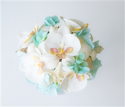Seashells Starfish Turquoise Aruba Accent Orchid Real Touch Silk Wedding Bouquet