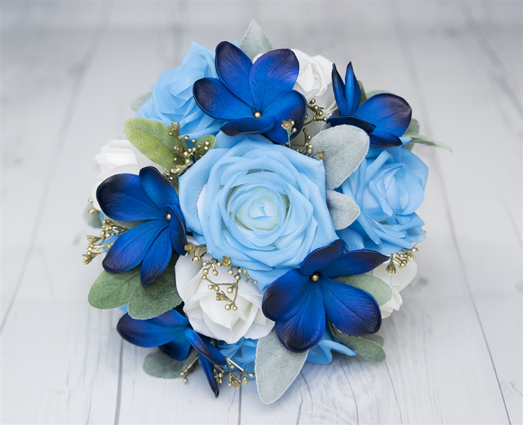 Blue Plumeria Roses And Gold Detail Real Touch Wedding Silk Flowers Bouquet