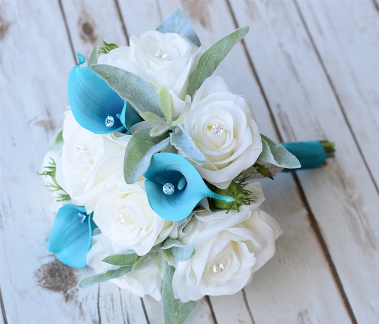 Natural Touch Off White Teal Calla Lily And Roses Garden Boho Silk