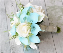 Natural Touch Off White Turquoise Callas, Roses and Blue Calla Lilies Garden Rustic Silk Bouquet