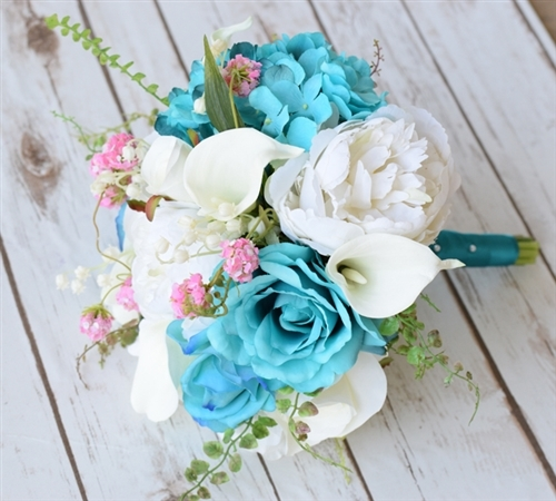 Teal Turquoise Peonies Roses And Callas Bouquet Wedding Bouquet