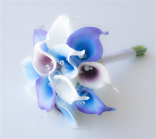 Natural Touch Purple Blue Small Calla Lilies Bouquet