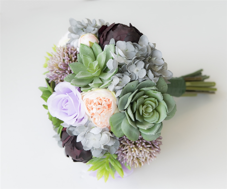 Succulent Boho Woodland Natural Touch Wedding Bouquet - Green, Plum ...