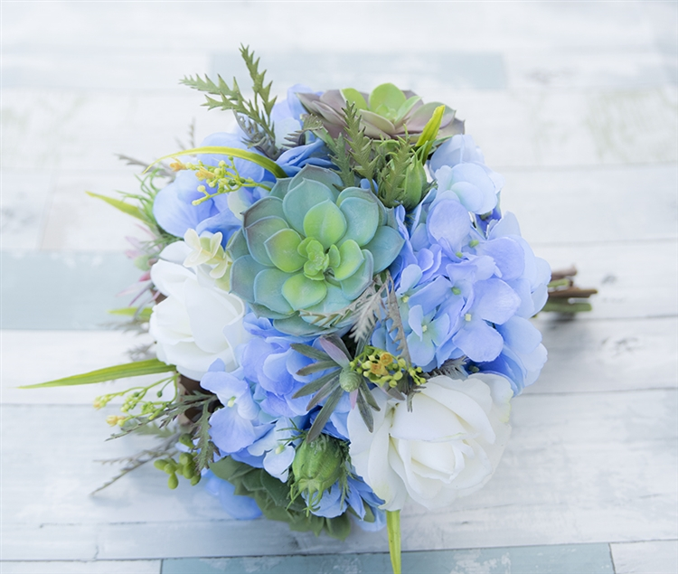 Natural Touch Off White Roses Silk Blue Hydrangeas And Succulent