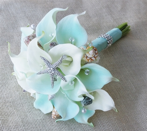 Natural Touch Tiffany Small Calla Lilies Seashell Bouquet