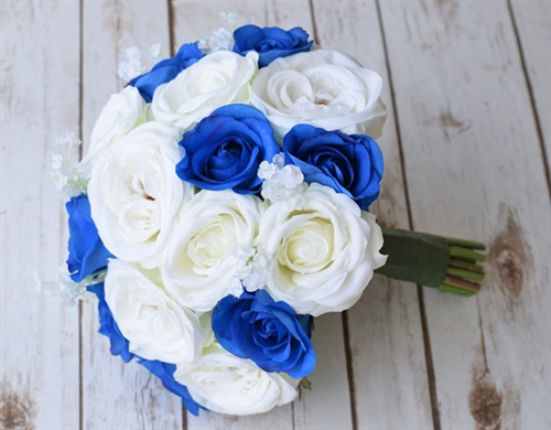Silk Ivory White And Blue Roses And Fillers Bouquet Lilies Of The
