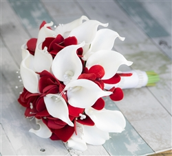 Real Touch Calla Lilies with Lots of RED Fillers and Bling! Silk Wedding Bouquet