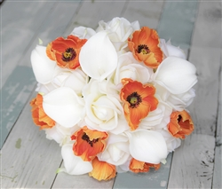 Real Touch Roses, Callas and Poppy - Off White & Orange Peach Bouquet
