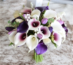 Callas & Fillers Bouquet - Purple Fillers Silk Wedding Bouquet - Real Touch Tulips and Lilies of the Valley