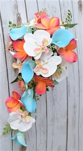 Natural Touch Teal Turquoise and Coral Callas, Plumerias & Orchdids Cascade Silk Wedding Bouquet