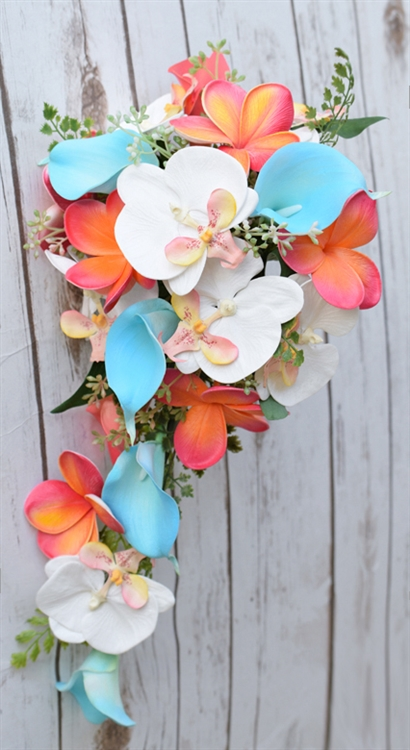fd5b8162f9752 Natural Touch Teal Turquoise and Coral Callas, Plumerias & Orchdids Cascade  Silk Wedding Bouquet