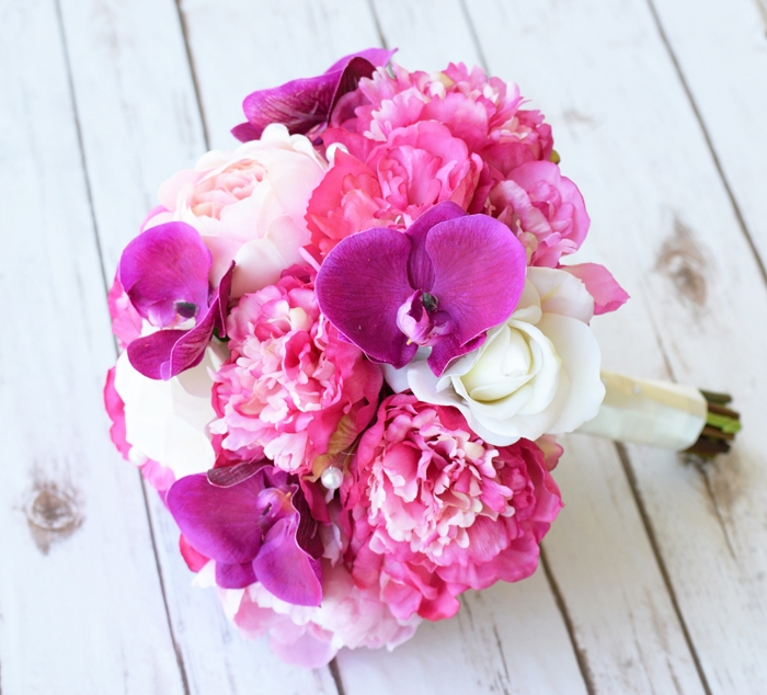 Fuchsia natural touch peonies and orchids bouquet alternative views mightylinksfo Gallery