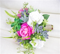 Natural Touch Succulents and Fuchsia Roses Bouquet