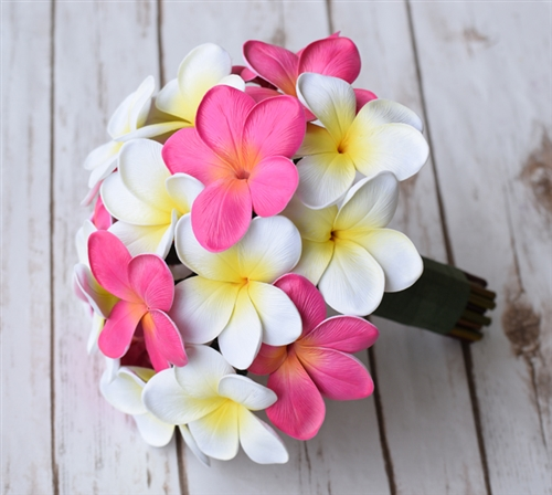 Real Touch Plumerias Fuchsia & Off White Mix Silk Wedding Bouquet