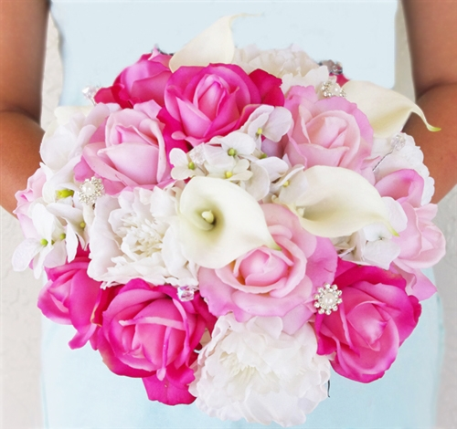 White And Hot Pink Roses Callas Hydrangeas Peonies Natural Touch Bouquet