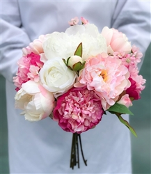 Off White Natural Touch Roses & Silk Peonies - Fuchsia Blush Bouquet
