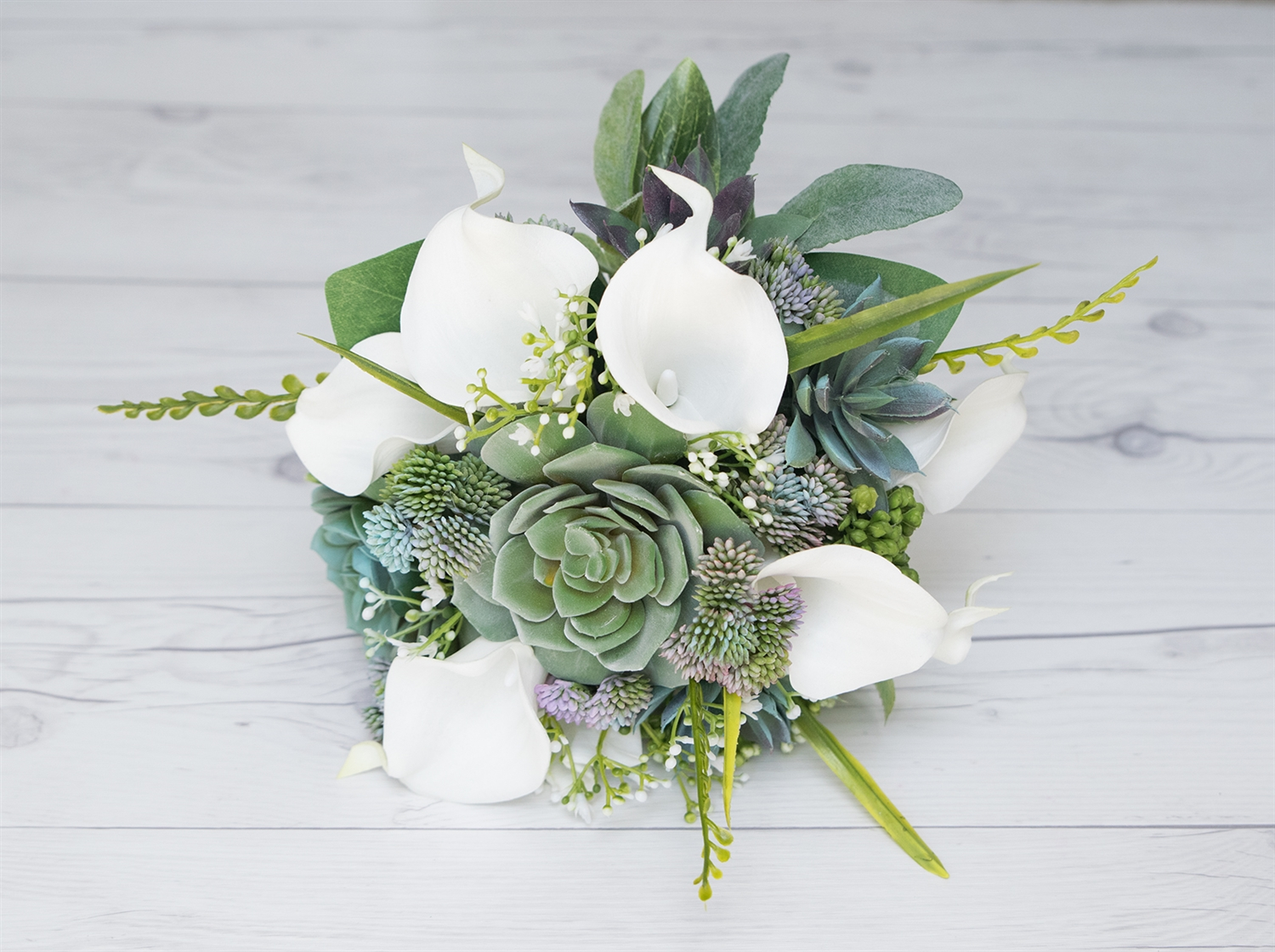 Real Touch Succulents Callas Roses Silk Wedding Bouquet