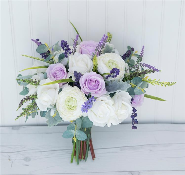 fb188ca1884e Boho Rustic Chic Bouquet - Lavender Wild Sprays Silk Purple Wedding Bouquet