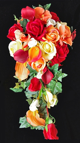 Natural Touch Yellow, Red & Orange Calla Lilies and Roses Silk Fall Cascade Bouquet