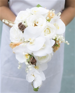 Champagne and Beige Roses Cascading Bouquet