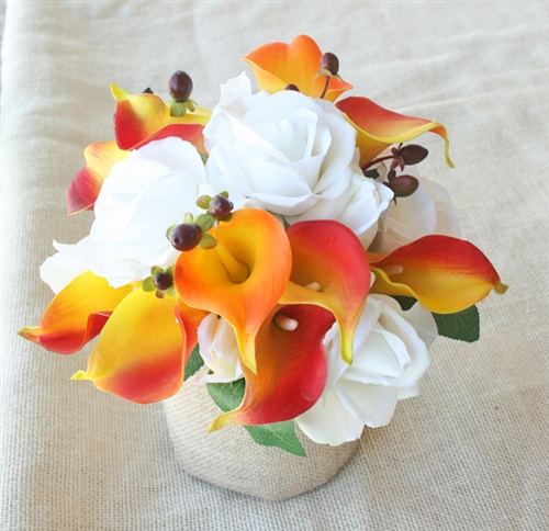 Real Touch Roses and Calla Lilies Orange Silk Wedding Flower Bouquet