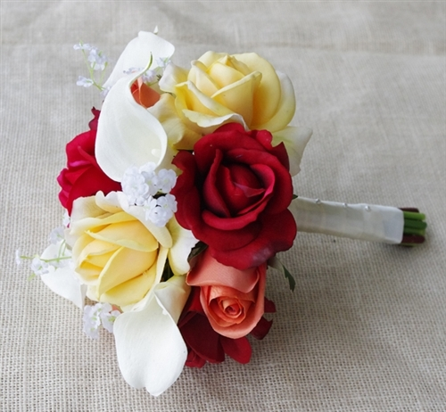 Natural Touch Orange Red Yellow Roses Silk Wedding Bouquet