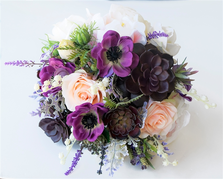Real Touch Bouquet in a Purple Plum Peach & Blush Mix. A freshly ...