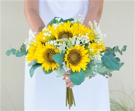 Gerbera Daisies and Calla Lilies Silk Wedding Bouquet - Yellow, Orange & Off White Flower Mix
