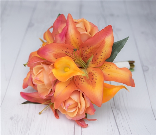 Real Touch Orange Lilies, Callas and Roses Silk Wedding Bouquet