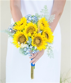 Sunflowers and Filler Sprays Yellow Blue and Pink Silk Wedding Bouquet