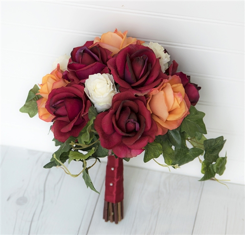 Natural Touch Red, Orange and Off White Roses Mix - Ivy Collar Silk Wedding Bouquet
