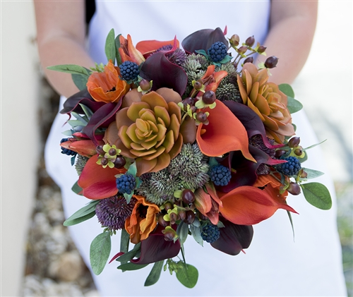 Natural Touch Fall Woodlands Silk Wedding Bouquet - Succulents, Callas, Berries and Fillers Orange, Green Plum