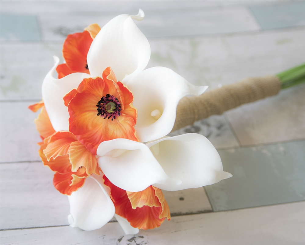 Real Touch Off White Calla Lilies And Orange Poppies Bouquet Poppy