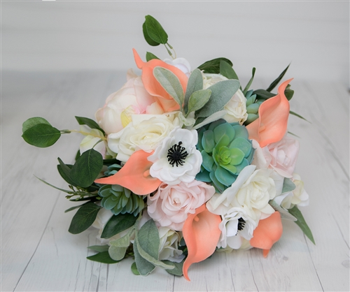Vintage Boho Style Bouquet - Peonies, Anemones, Callas and Eucalytus Real Touch Silk Wedding Bouquet