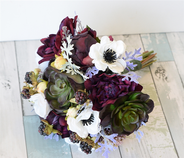 Purple Plum Green Natural Touch Wedding Bouquet - Succulents ...