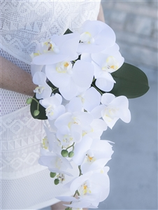 Natural Touch Off White Orchids Cascading Bouquet