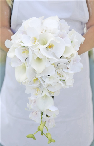 Natural Touch Off White Orchids and Calla Lilies Cascading Silk Wedding Bouquet