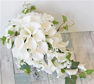 Natural Touch Off White Calla Lilies Cascading Bouquet