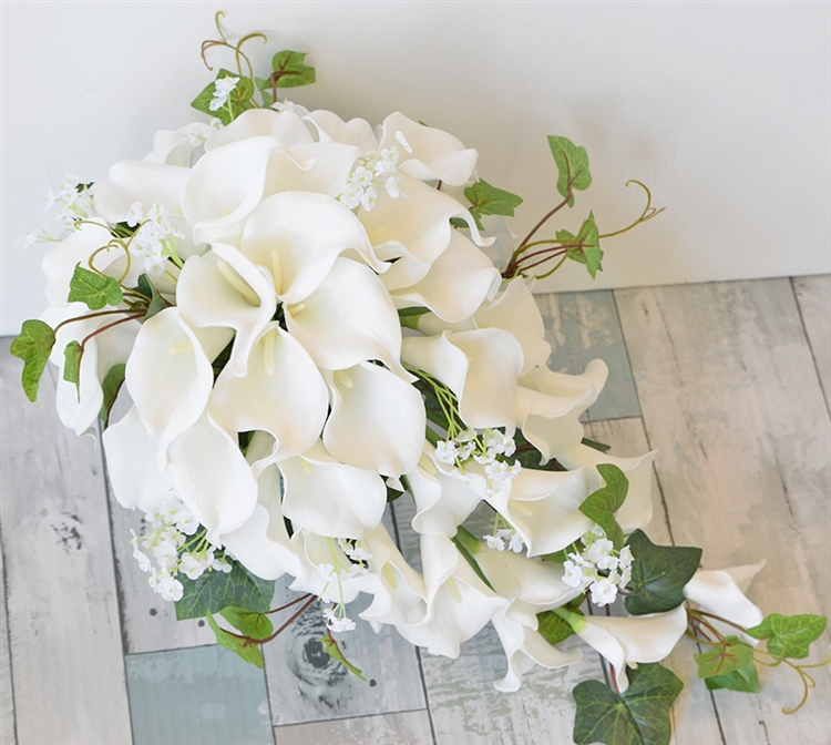 Natural Touch Off White Real Touch Calla Lilies Bouquet
