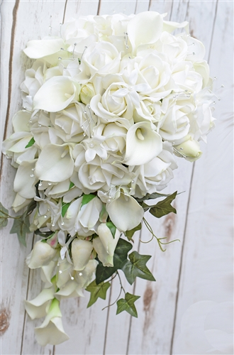 Natural Touch Off White Calla Lilies and Roses Cascading Bouquet