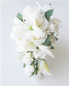Natural Touch Off White Roses and Lilies Cascading Bouquet
