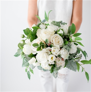 White Spray Flower Bouquet - Eucalyptus Roses and Fillers Silk Wedding Flower Bouquet