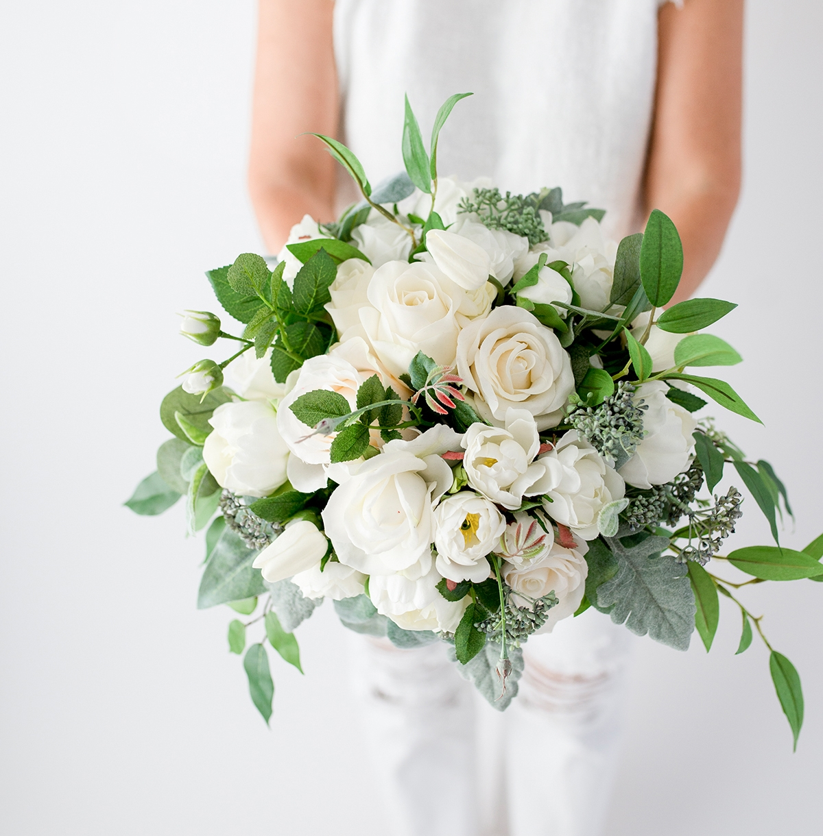 White Spray Flower Bouquet Eucalyptus Roses and Fillers Silk
