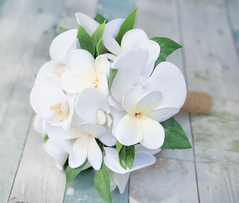 White Tropical Bouquet with Off White Orchids & Plumerias Silk ...