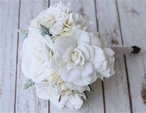 Faux Gardenia, Peonies and Roses Wedding Flower Bouquet