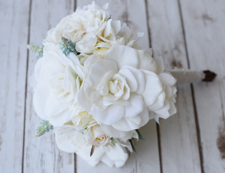 Gardenias, Peonies and Roses Champagne Ivory Silk and Ral Touch Wedding  Bouquet