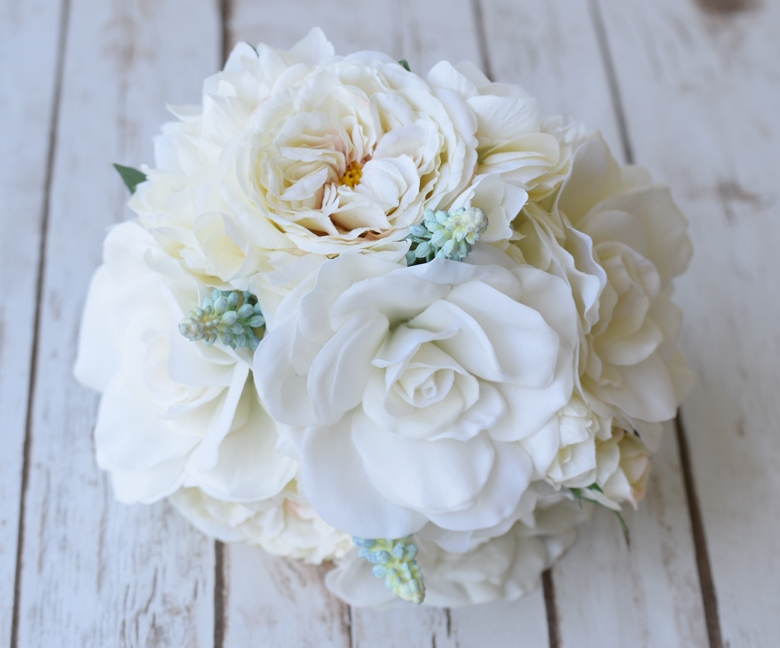 Faux Gardenia, Peonies and Roses Wedding Flower Bouquet - Silk ...
