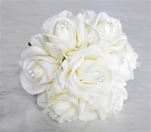 Natural Touch Off-White Roses, Crystals & Rhinestones Silk Wedding Bouquet